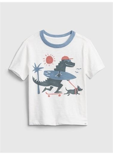 Gap Grafik Desenli T-Shirt Beyaz